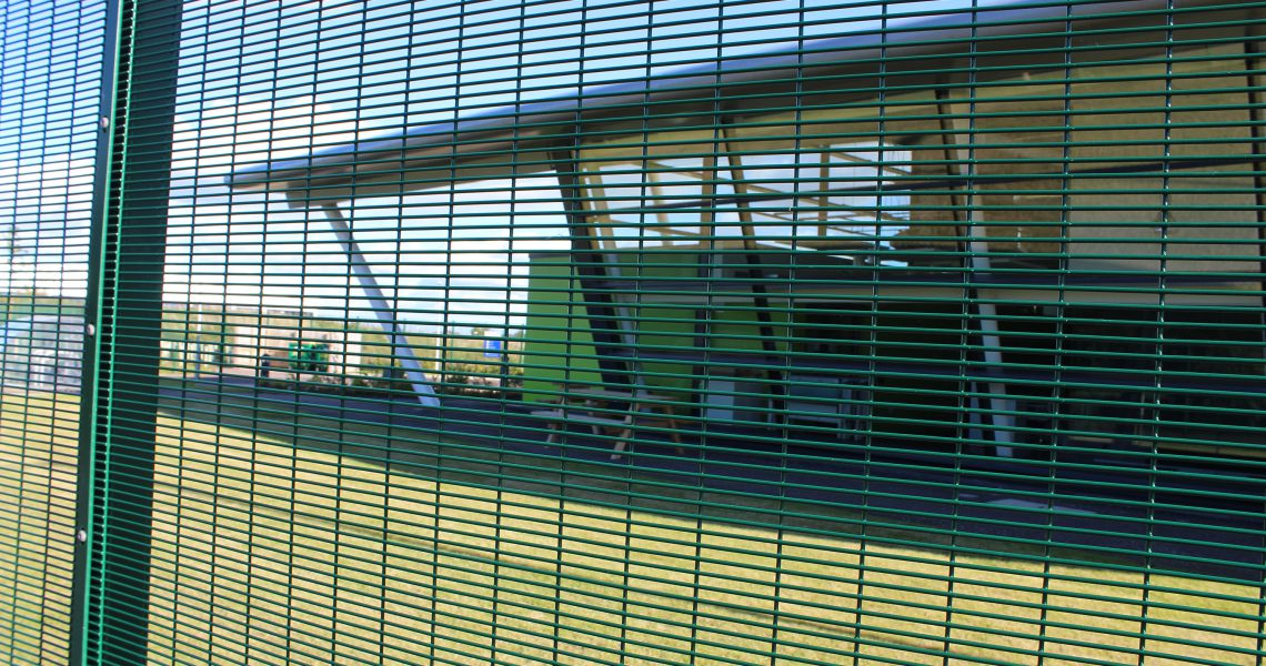 A close up of the mesh on the Lochrin 358 fencing system.
