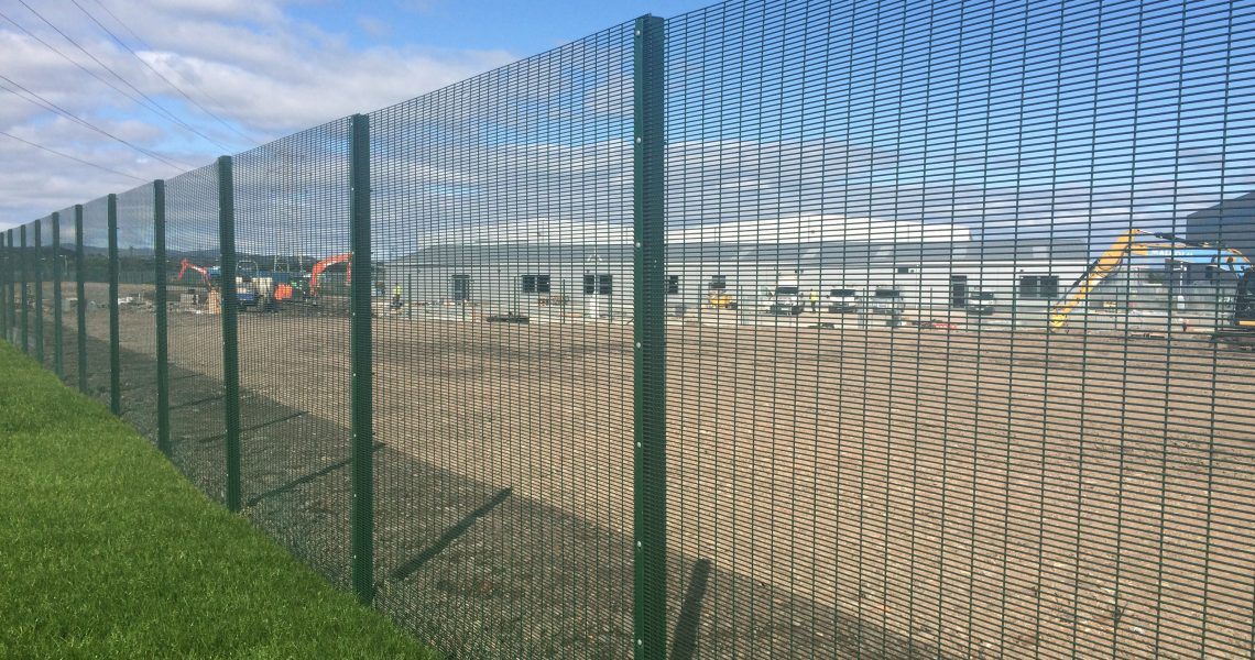Lochrin 358 fencing installed around an industrial unit.
