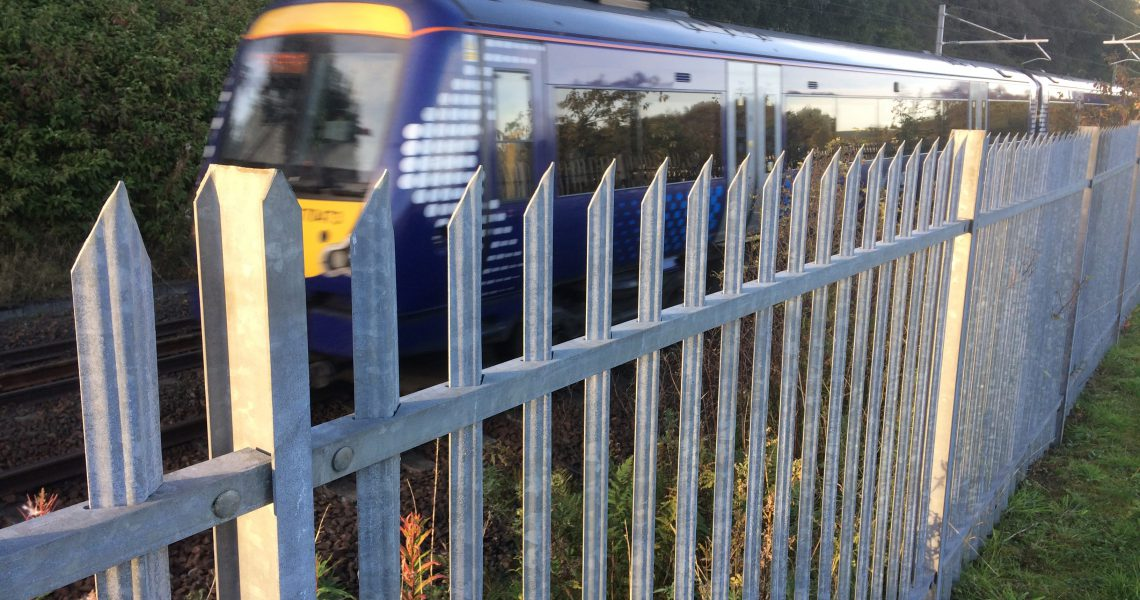 A Lochrin Classic fence installed alongside a railway.