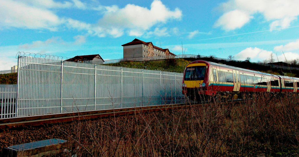 Lochrin Combi CPNI fencing installed alongside a railway.