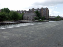 A photograph of the Lochrin Distillery.
