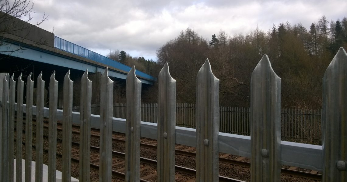 Lochrin Palisade fencing installed alongside a railway line.