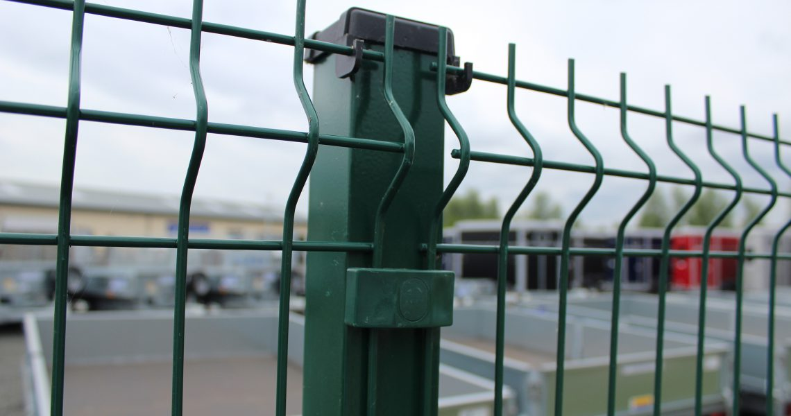 The mesh and post of the Lochrin WaveGUARD fencing system.
